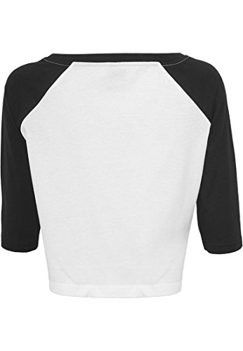 Urban Classics - Mesdames Cropped 3/4 T-shirt manches partie Bauchfrei Blanc/Blk