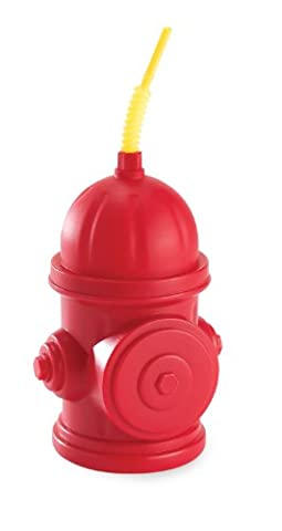 Fireman Fire Truck Party Supplies - Fire Hydrant Sippy Cups with Straws (8) by BirthdayExpress