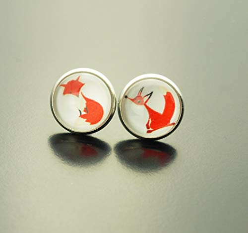 Ohrringe Fuchs rot weiß Comic Glas Ohrstecker Stecker Cabochon Juvelato
