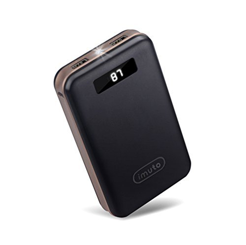 iMuto 20000mAh Compact External Battery Power Bank Portable Charger with Smart LED Digital Display and Quick Charge, Backup Battery Pack Camping Portable Battery Charger for iPhone 6 6S Plus 6+ 5S 4S, iPad Air 2 mini 3 Pro, Samsung Galaxy Note 4 5 3, S6 Edge S6 S5 S4, Tab, Google Nexus 6 5 4, LG G3 G4, HTC One M8 M9, Motorola Moto X, SONY Xperia Z3 4 2, PS Vita, Gopro, Smart Phones and Tablets (Black)  available at amazon for Rs.6189
