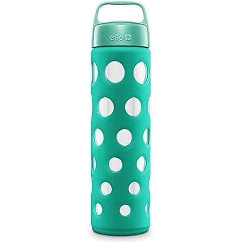 Botella de agua de cristal puro Ello, color azul
