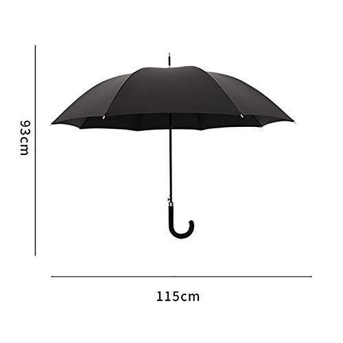 XQY Sun and Rain Umbrella,Parasol Umbrella Sunblock Uv,Sun Shade Umbrella-Umbrella Black Semi-Automatic Opening Classic Curved Handle Long Retro Windproof Double -