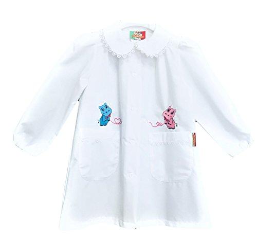 Confezioni mariano grembiule scuola made in italy - asilo bambina colore bianco con ricamo - abbottonatura centrale con bottoni, colletto bianco con ricamo.