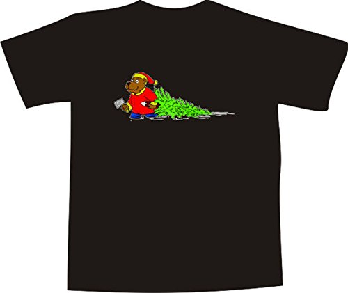 T-Shirt E985 Schönes T-Shirt mit farbigem Brustaufdruck - Logo / Grafik - Comic Design - Weihnachten - Bär mit Axt und Weihnachtsbaum Schwarz