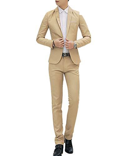 Abito completo uomo 2-pizze elegante blazer + pantaloni slim fit cachi m