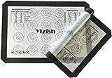Yizish Silicone Baking Mats Juego de 2, Half Sheets Liners Antiadherente, Antideslizante Mat Cocina, Placemats con tabla de conversión de la cocina, Espesor 0.07cm, tamaño medio (16.54 'x 11.61')