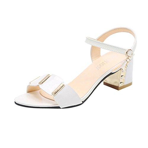 UOMOGO® Donna Fibbia Tacco Medio Luccichio Puro Punta Aperta Sandali 6 cm (Asia 41, Bianca)