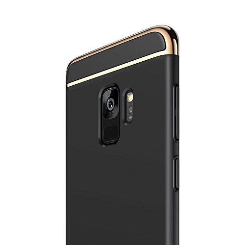 RANVOO Kompatibel mit Samsung Galaxy S9 Hülle, 3-Teilig Stylish Edel Dünn Schick Bumper Hardcase Cover Schale Schutz Handyhülle, Schwarz und Gold (5,8 Zoll)