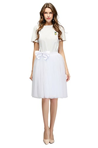 üllrock Petticoat Reifrock Unterrock Tuturock Petticoat Underskirt Crinoline für Rockabilly Kleid, Weiß (Region 10 Kostüm)