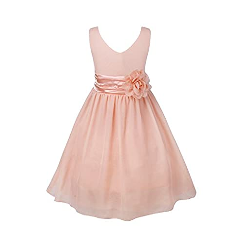 iEFiEL Flower Girl Dress V-Neck Chiffon Party Bridesmaid Ball Gown Dresses Coral Pink 3-4 Years