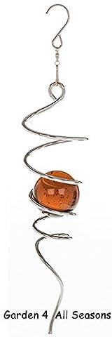 silver-amber Accessoire de Jardin Intérieur/Vent Spinner Twister queue en spirale en acier inoxydable 25cm