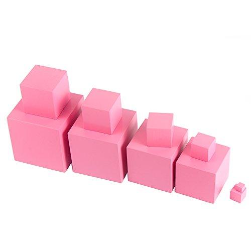 yigooood madera Montessori matemáticas juguetes rosa Torre Madera Cubo 0,7–7cm Early preescolar regalo educativo