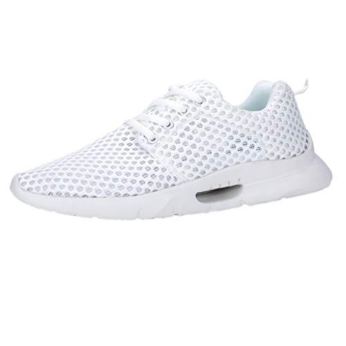 AIni Herren Schuhe,Sale 2019 Neuer Heißer Beiläufiges Mode Sommer Mesh Atmungsaktive rutschfeste Sneaker Zum Schnüren Verschleißfeste Sneaker Partyschuhe Freizeitschuhe(47,Weiß)