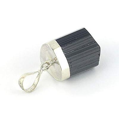 Pendentif de minéral Tourmaline serti d'argent 925,18x14x13 mm
