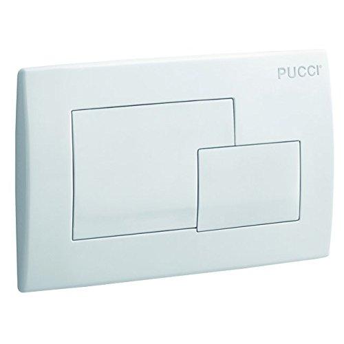 Placca Quadra (cm 28x18) Bianca a 2 Pulsanti per Cassetta Incasso Pucci Eco