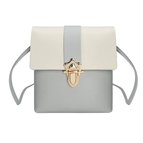 Rovinci Mode Frauen Mini Leder(PU) Handy Umhängetasche Damen Farbblock Bote Vintage Kleine Handtasche Lässig Hasp Schultertasche Damentasche Schulterbeutel Tote Cross-Body Taschen