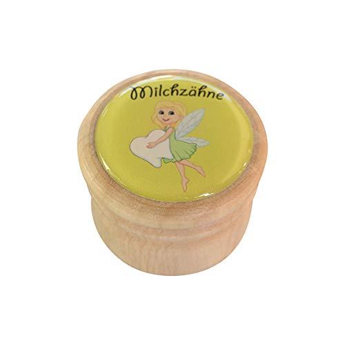 Milchzahndose, Zahndose Milchzähne Bilderdose aus Holz in diversen Motiven für Mädchen und Jungen mit Drehverschluss 44 mm (Zahnfee)