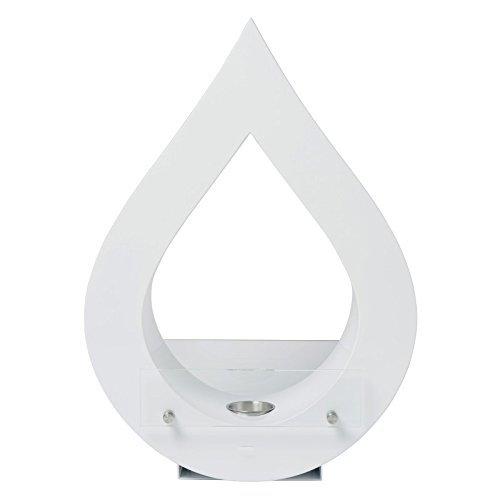 'tear drop' - Chimenea de bioetanol chimenea de pie, color blanco