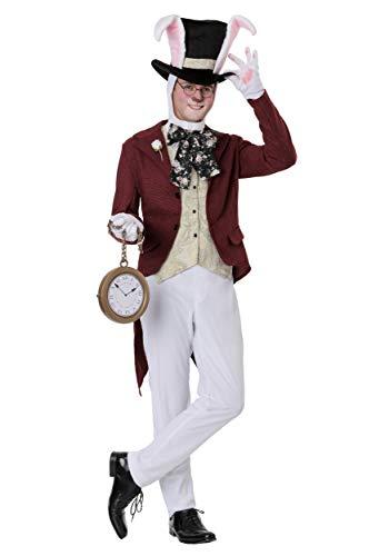 Plus Size Mens White Rabbit Fancy Dress Costume (Mens White Rabbit Kostüme)