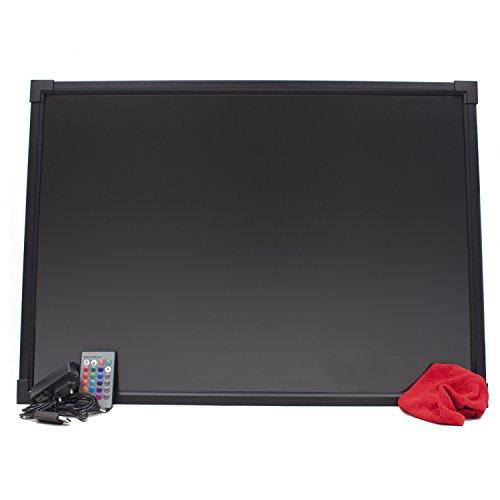 HALOTEC Pizarra LED RGB luminosa de 50x70cm color negro con marco aluminio/Borrable con alimentación incluida a 12V posibilidad de cambios de color 28 combinaciones incluye mando a distancia