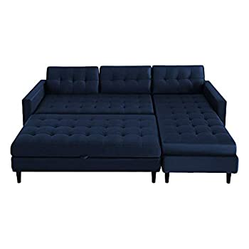 SELSEY COPENHAGEN - Corner Sofa/Sofa Bed / 3 Seater Lounge in a Beautiful Monolith Blue Fabric with Separate Ottoman