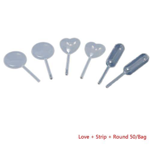 traline 120pcs / 150pcs Backen Pipette Runde/Liebevolles Herz/Streifen geformt Jelly Sahnebehälter aus Kunststoff PE Dropper 4 ml - Anti-bruch Creme