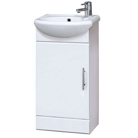 Premier NVS100 400 mm High Gloss Mayford Compact Bathroom Cabinet and Basin - White