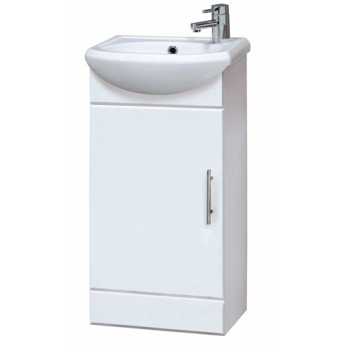 Trueshopping Bathroom Cloakroom Furniture Compact 400mm White Gloss Vanity Unit Cabinet with Ceramic Basin