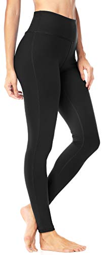 QUEENIEKE Women Power Flex Mid-Waist Tummy Control Workout Running 4 Way Stretch Yoga Leggings Size XL Color Mid-Waist Black