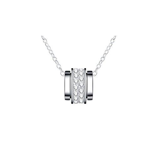 NIUWJ Damen S925 Sterling Silber Mode Einfache Anhänger Zeit Diamant Platin Schmuck Zu Laufen (Laufen Schmuck)