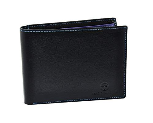 sergio tacchini, portafoglio uomo nero in vera pelle, resistente, con portamonete a clip, sottile, portatessere, interno multicolore