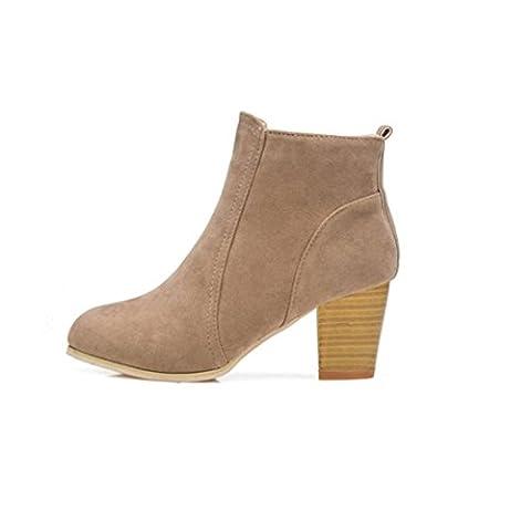 Chaussures femmes, Yogogo Mode Femmes Automne Hiver  Chaussures Avec des talons de 8cm Bottes de Martin Taille 35-39 (35, Kaki)