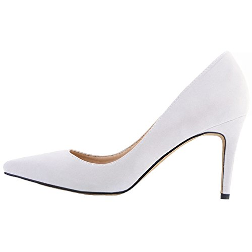 HooH Femmes Stiletto Talon haut Mariage Work Robe Escarpins a enfiler Blanc