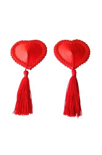 Lily \'s Design (TM) rot Satin Herz Nippel Quasten mit Rot Quasten Nipple Cover Nippel Quasten Pasties One Size