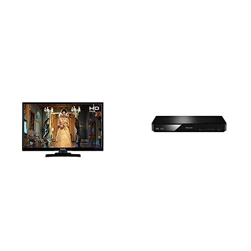 Panasonic TX-24E302B 720p HD Ready 24-Inch LED TV with Freeview HD - Black (2018 Model), with Panasonic DMP-BDT180EB 3D Smart Blu-Ray Player