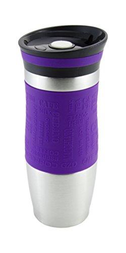 Vakuumisoliert Hervorragende Qualität Thermobecher Travel mug Für Kaffee oder Tee Rostfreier Stahl Thermosflasche Doppelwandig Ein Hand öffnen (380 ml, Lila) (Stahl-flüssigkeit Vertikale)