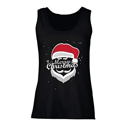 (lepni.me Damen Tank-Top Frohe Weihnachten - Der Weihnachtsmann kommt in die Stadt (Medium Schwarz Mehrfarben))