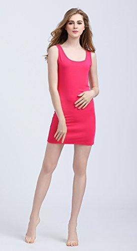 Vinconie Donna Canottiera Girocollo Mini Vestito Senza Maniche Camicia Casual Maglietta Yoga Allenamento Top Rosa