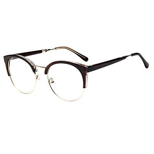 YOGER Sonnenbrillen Top Anti-Radiation Goggles Normalglas Brillen Mode Frauen Metall + Kunststoff Halbkreis Rahmen Brillengestell Brille