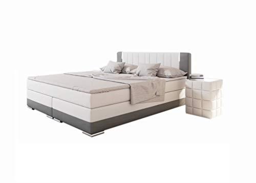SalesFever® LED-Boxspringbett 200x200 Brooklyn | Weiß-Grau | H3 Bonellfederkern-Matratze + Hochwertiger Topper | FSC® 100%