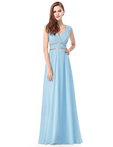 Ever Pretty Damen Elegant V-Ausschnitt Ärmellos Lang Abendkleid 44 Größe Blau