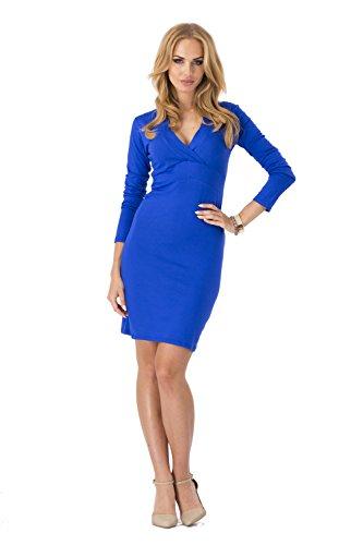 Classe Mini-vestito con V-sagomato in 6 colori, Mis, 36 fino a 46, 2913 Blu