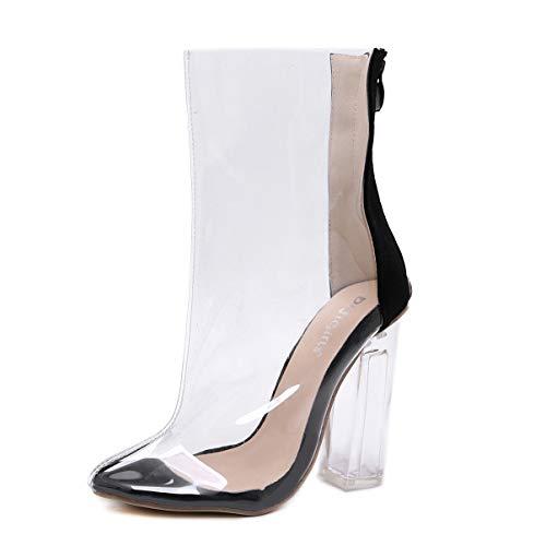 EGS-Shoes Dicker Absatz Einzelne Stiefel Damenstiefel Transparente Stiefel,Grille Schuhe (Farbe : Schwarz, Size : 40) (Go Stiefel Go Halloween)