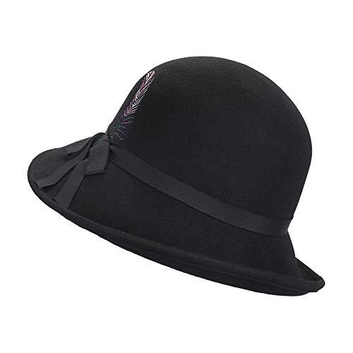 Frankreich Weiblich Kostüm - Kappe plüsch entenzunge kostüm waschbecken Hut Mode Stickerei einkaufen warme Wolle weiblich schwarz