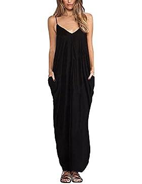 [Sponsorizzato]ZANZEA Donna Vestito senza Maniche Casual Elegante Abito Lungo Maxi V Collo Moda Dress Cocktail