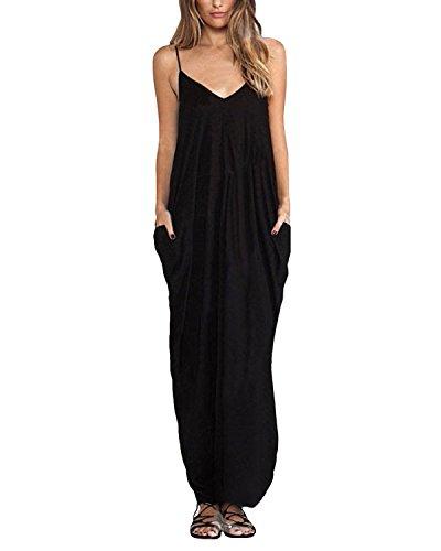 ZANZEA Femme Sexy Eté Boho Longue Maxi Lâce Robe Sans Manche Robe de Plage Soirée Cocktail Noir EU 40/ US 8 UK 12