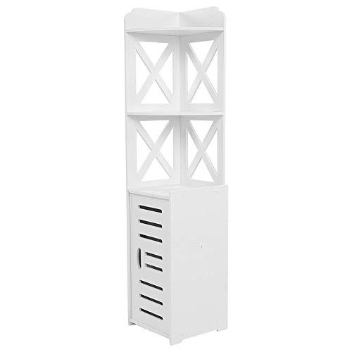 EBTOOLS Badschrank, Holz Eckschrank Badezimmerschrank Standschrank Seitenschrank Medizinschrank Hochschrank mit 2 offene Fächer und 1 Türschrank, Weiß, 120 * 27 * 27 cm -