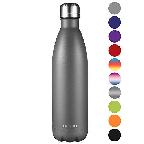 Ecooe Thermosflasche 750ml Doppelwandig Trinkflasche Edelstahl Wasserflasche Vakuum Isolierflasche Grau (MEHRWEG)