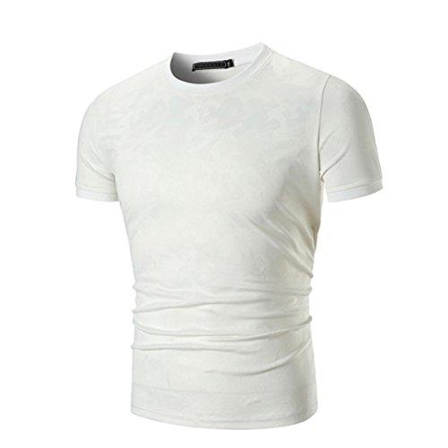 ASHOP Herren T-Shirt Lässige Slim Fit Solid Kurzarm T-Shirt Top Bluse (M, Weiß)