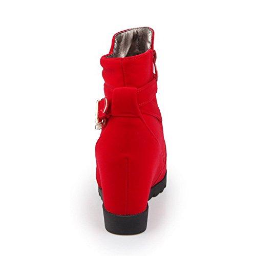 VogueZone009 Femme Couleur Unie Coin Rond Dépolissement Zip Bottes Rouge